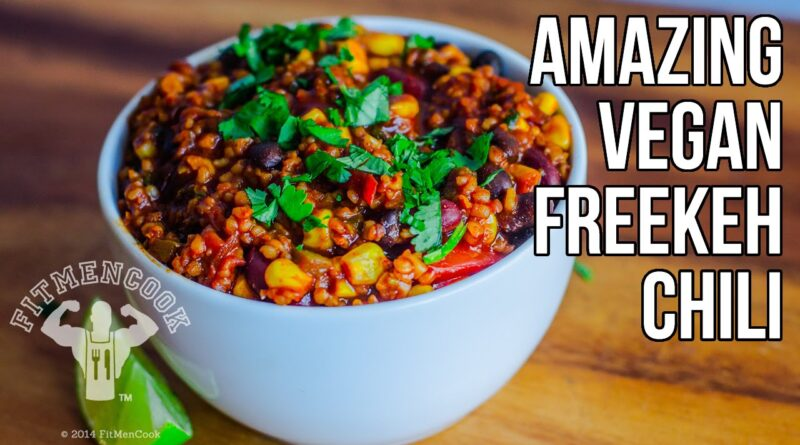 Amazing Vegan Freekeh Chili (Stuffed Bell Peppers) / Chili Vegano con Freekeh